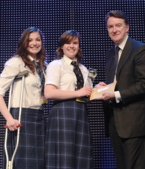 Dollar students receive their prize from Lord Mandelson