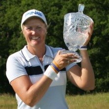 Maria Hjorth with silverware from her LPGA success