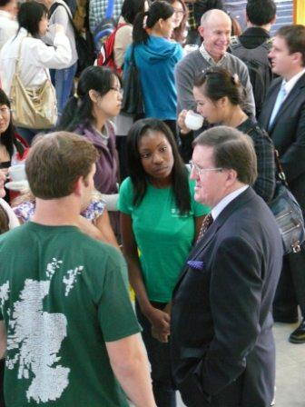 Lord Robertson chats to Stirling students