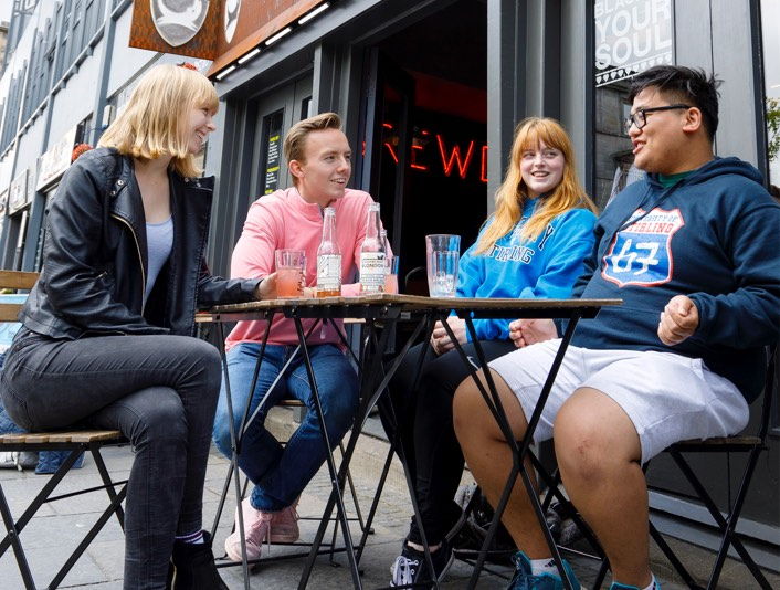 Students in Stirling city centre