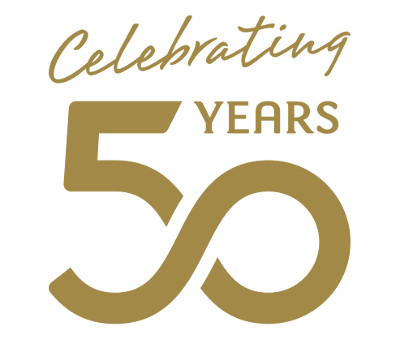 An image of a celebratory 50 years logo