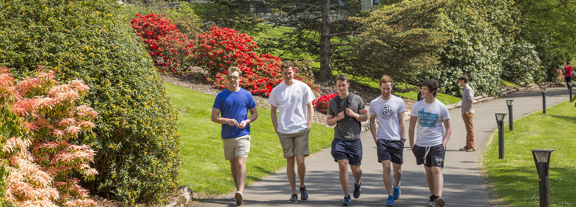 Students walking around the loch