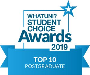 What Uni Student Choice award logo for Top 10 Postgraduate 2019