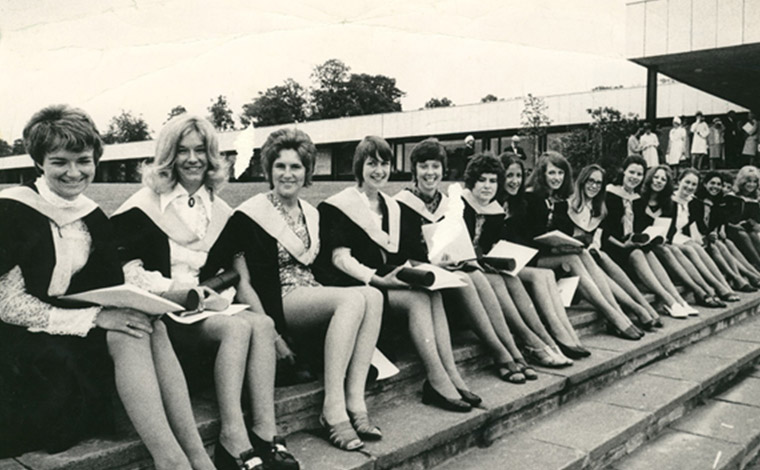 A photo of a group of students from the 1960s