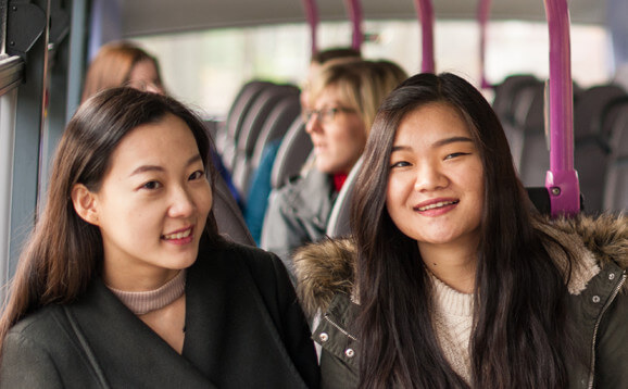 International students on a bus