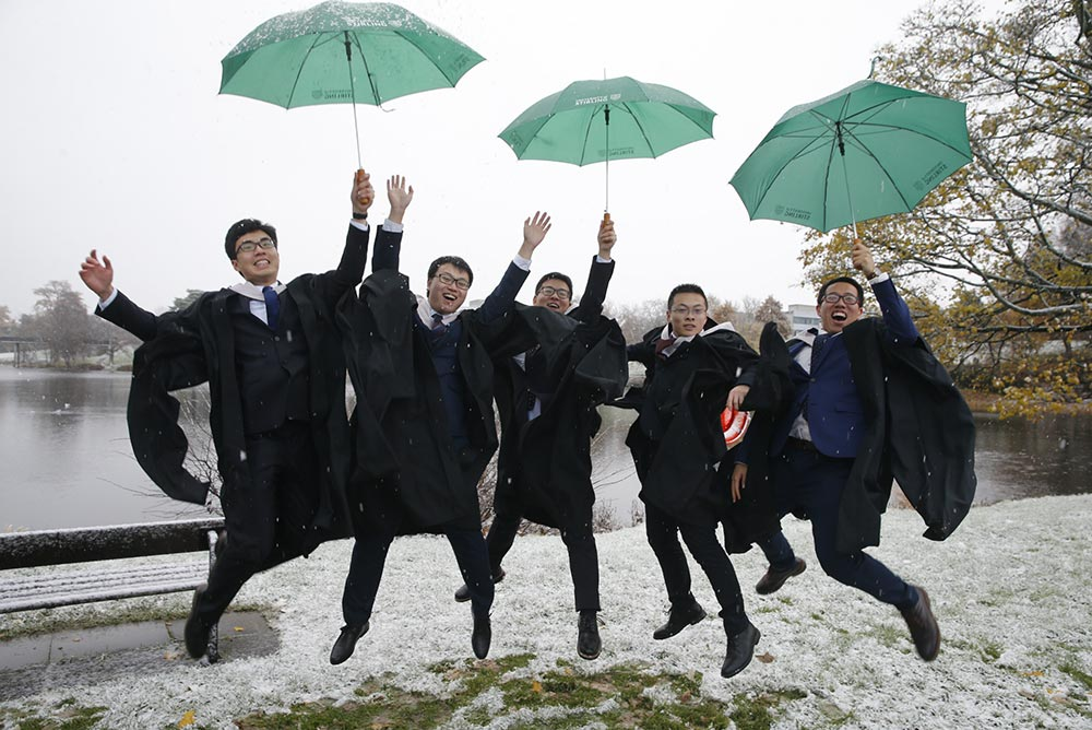 Graduates left the morning ceremony to a blanket of snow on the University of Stirling campus