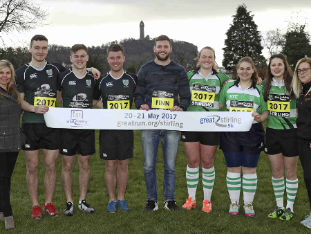 Stirling athletes and staff join rugby star Finn to launch family run