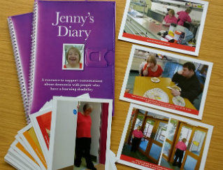 An image showing some marketing material from Jenny's Diary which helps people with learning difficulties to come to terms with dementia