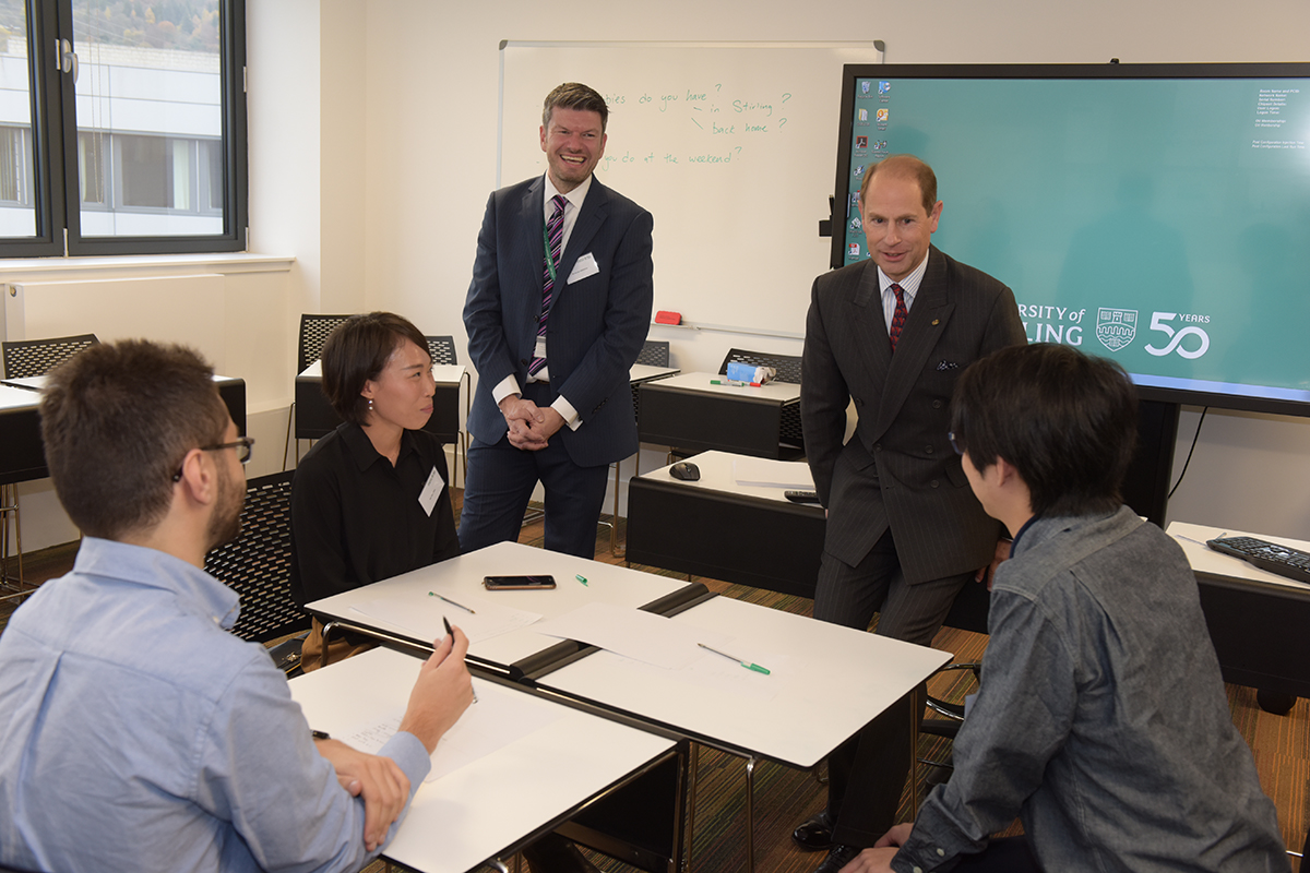 The Earl of Wessex met staff and students during his visit to the new building