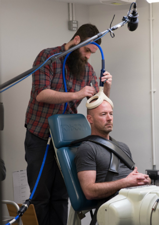 Alan Shearer's brain function being measured
