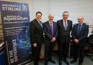Michael Gove, Stephen Kerr MP, Professor Malcolm MacLeod and Dr John Rogers
