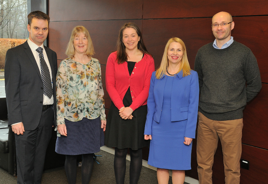Dr Edward Duncan, of the University of Stirling, pictured alongside (L-R): Professor Helen Snooks, Aileen Campbell, Pauline Howie and Dr David Fitzpatrick