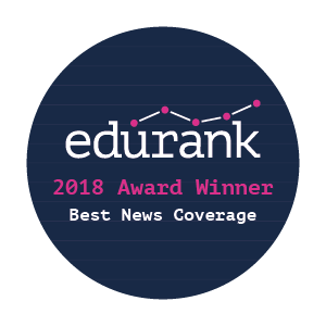 An image promoting the Edurank Best News Coverage award