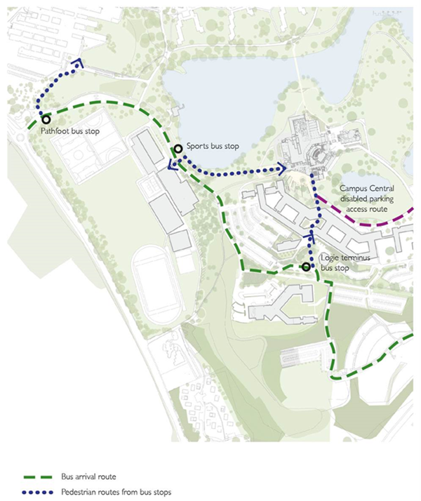 Map of bus arrival routes, and pedestrian routes from bus stops