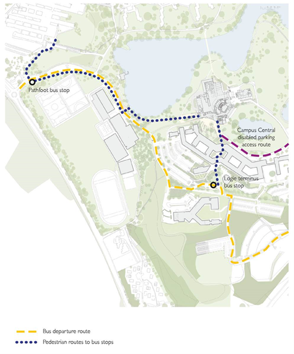 Map of bus departure routes, and pedestrian routes from bus stops