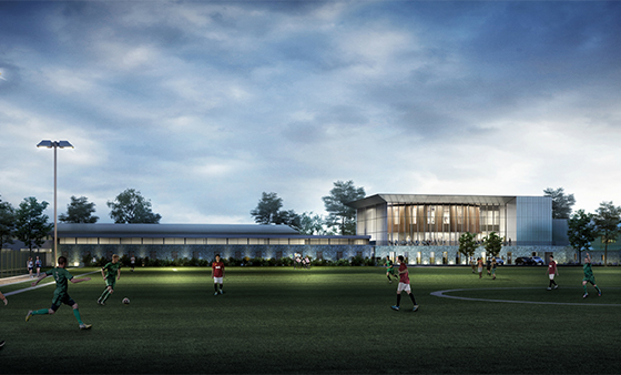 CGI model of new sport's facilities outside