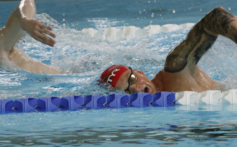 Adam Peaty Olympic champions swimming in Stirling pool
