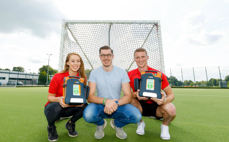 Eilidh Watson, Finlay Richardson, Gareth Allan with new defibrillators