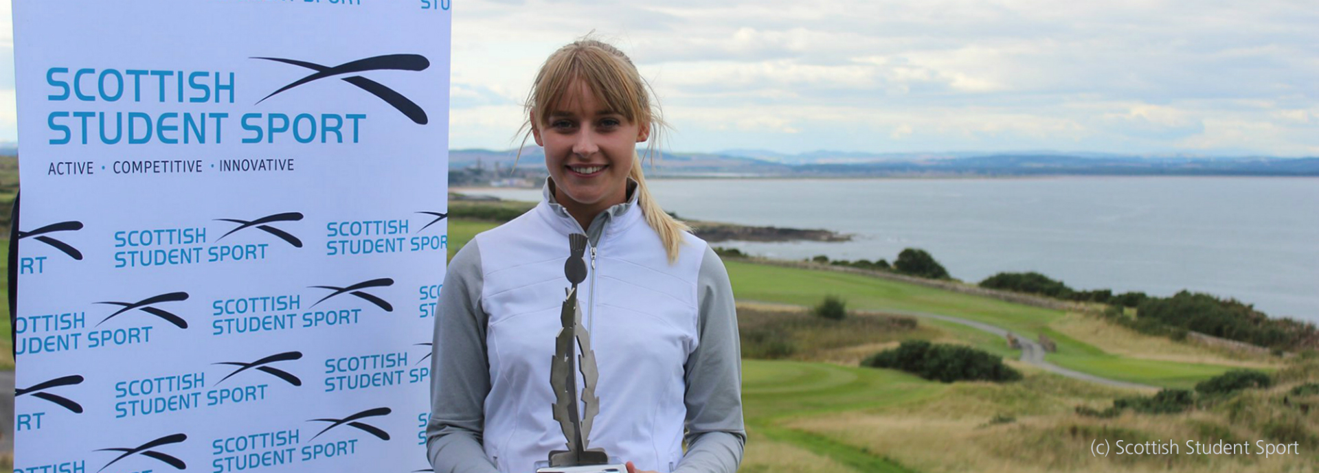Nicola Slater with Stirling International golf trophy