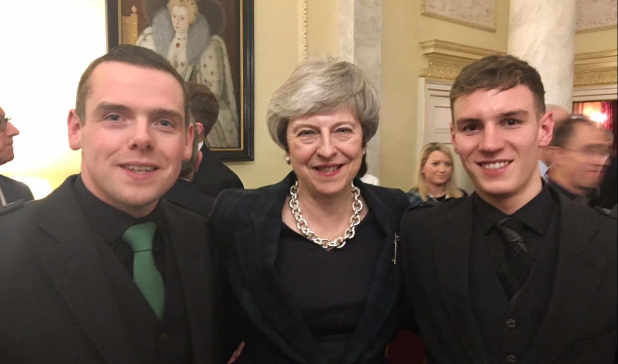 Cameron Main with Douglas Ross and Prime Minister