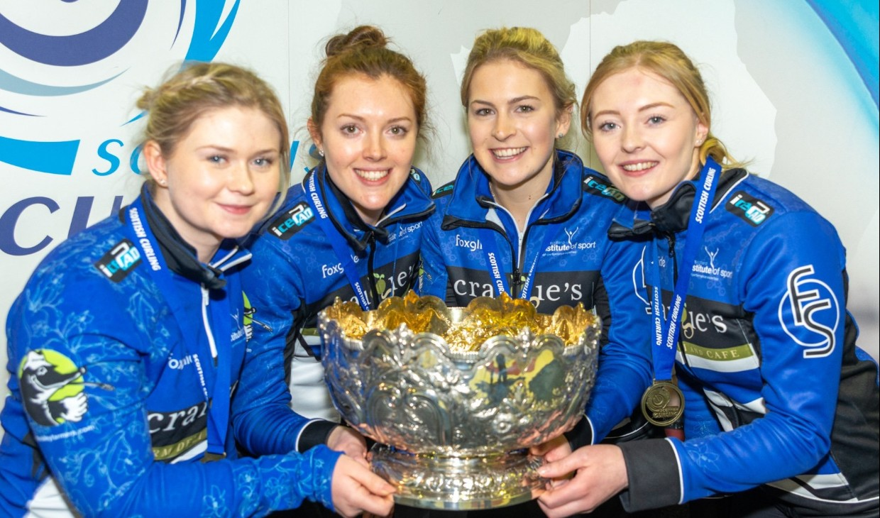 Team Jackson with women's Scottish curling trophy