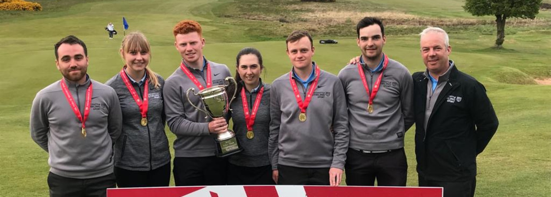 The winning University of Stirling golf team with the BUCS Championship trophy