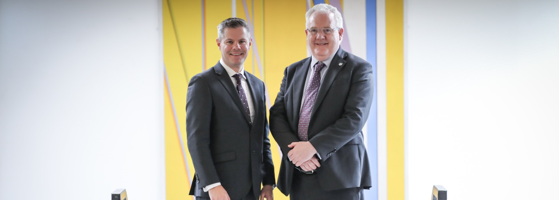 Derek Mackay MSP, Cabinet Secretary for Finance, Economy and Fair Work, with Professor Gerry McCormac, Principal of the University of Stirling