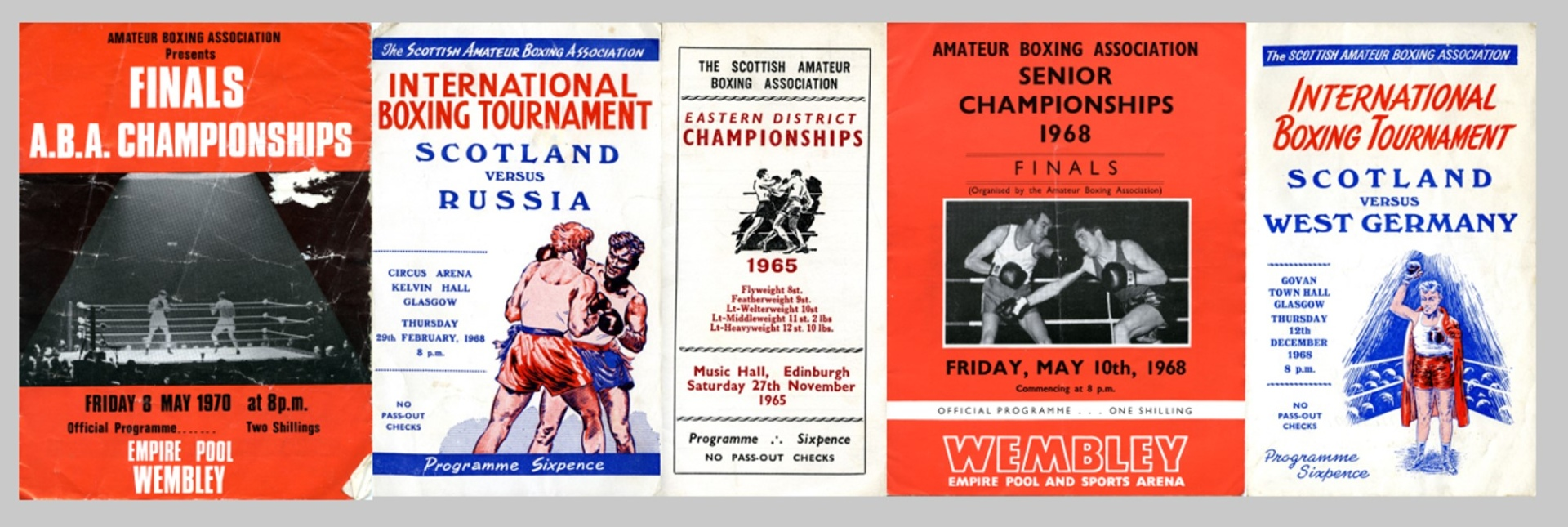 Covers of programmes for boxing tournaments donated to the new Scottish Boxing Archive at the University of Stirling
