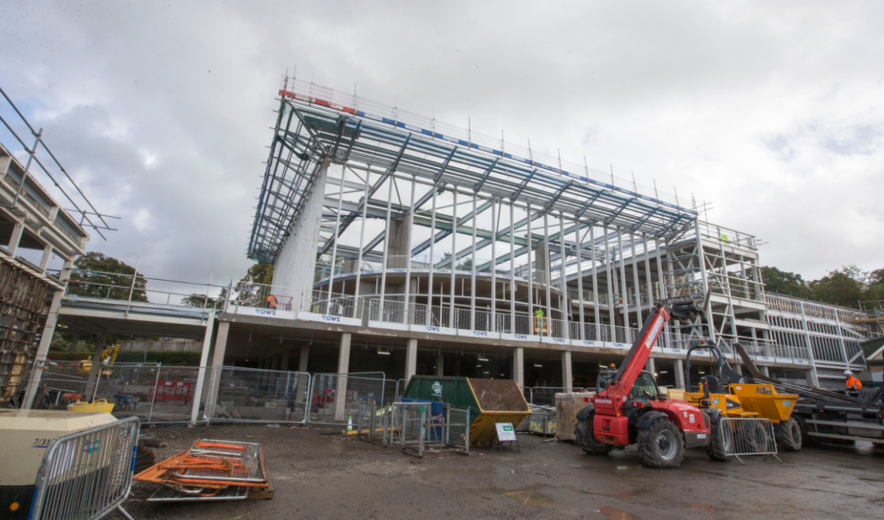 The steel frame of the new sports complex