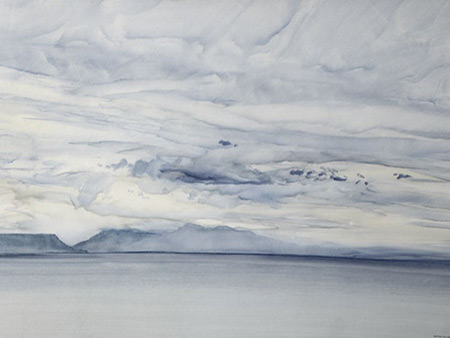 Impressionist painting of sea, cloud and islands