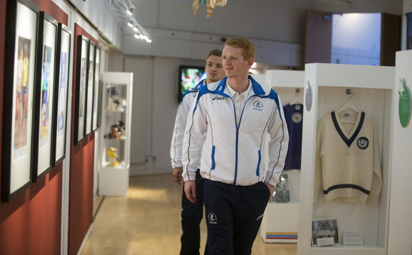 Athletes viewing Commonwealth Games exhibition