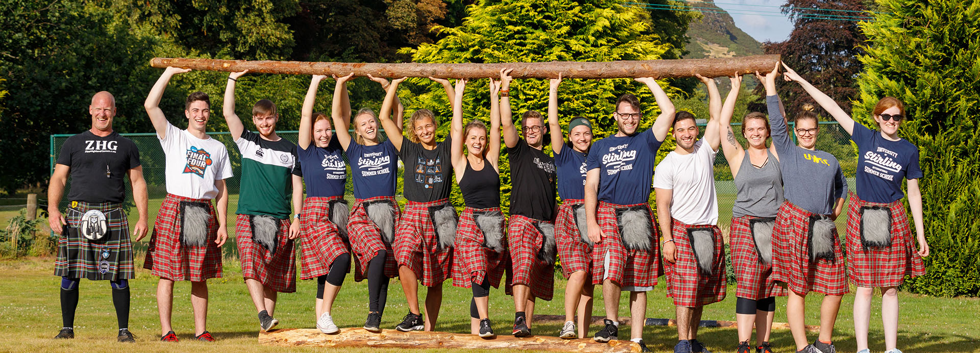 International Summer School students taking part in Highland Games