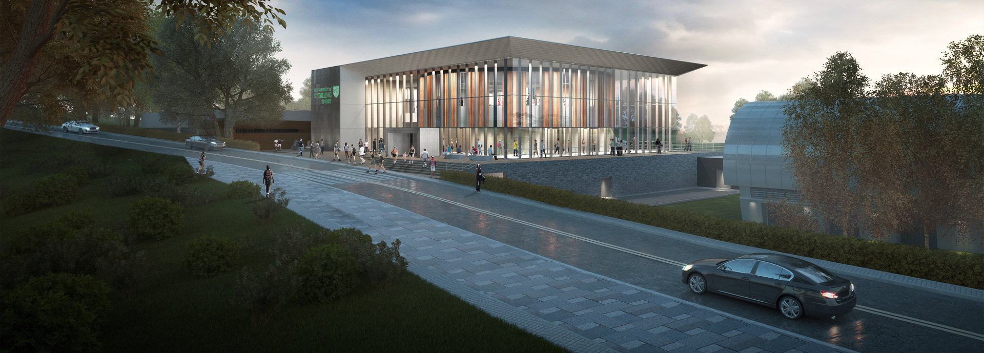 A computer generated image of the university of stirling's sports facilities redevelopment