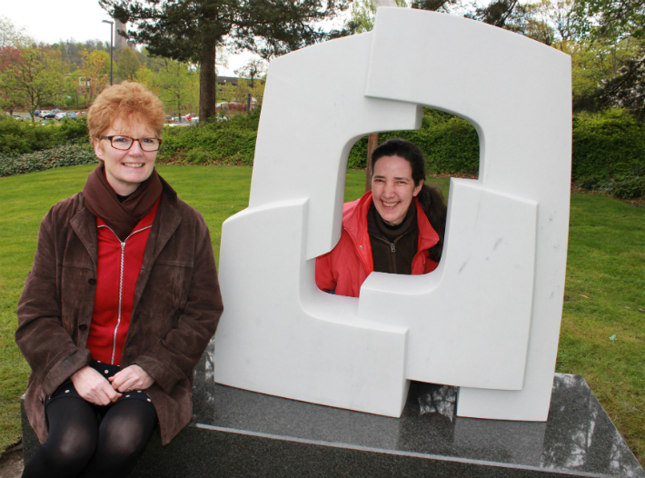 Jane Cameron (left) from the University of Stirling with artist Kate Thomson