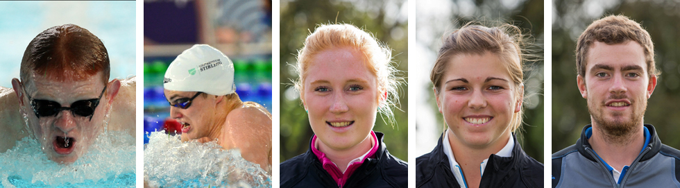 Profile photos of the five University of Stirling athletes competing at the World University Games.