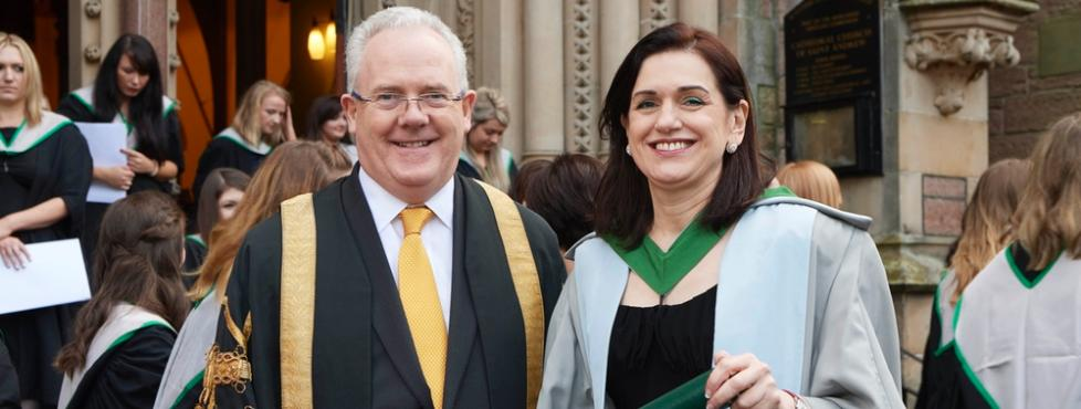 Dr Helen Bevan OBE with Principal and Vice-Chancellor Professor Gerry McCormac